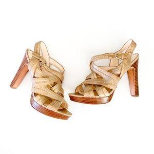 Coach Brynne Platform Heels Metallic Gold Sandals